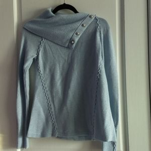 WHBM light blue w/ sparkle cowl pullover sweater